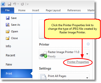 In Word 2010, click the Printer Properties link before printing to change the JPEG settings