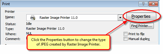 In Word 2007, click the Properties button before printing to change the JPEG settings.