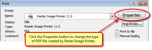 In Word 2007, click the Properties button before printing to change the PDF settings.