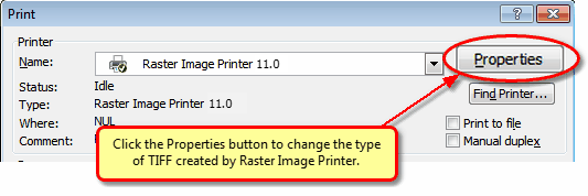 In Word 2007, click the Properties button before printing to change the TIFF settings.