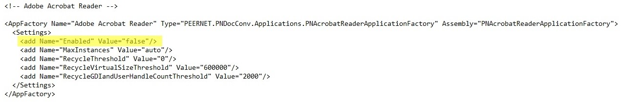 Adobe Reader Disabled DCS Configuration File