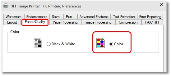 Printer Preferences - Color Setting