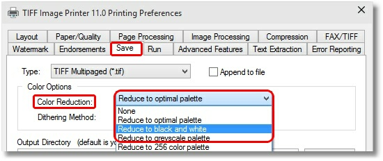 Printing Preferences - Black and White Setting