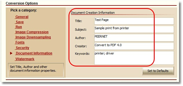 Convert To PDF - Document Information screen - Data Entry