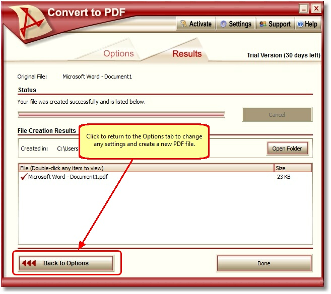 Convert To PDF - Back to Options Button