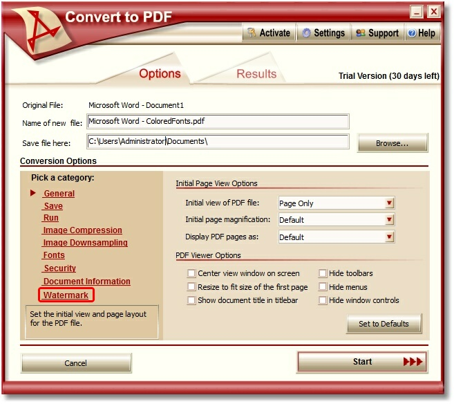 Convert To PDF - Watermark Setting Screen