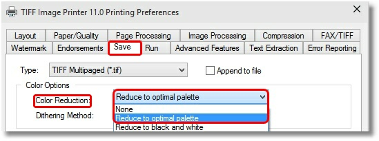 Save Tab - Reduce to Optimal Palette
