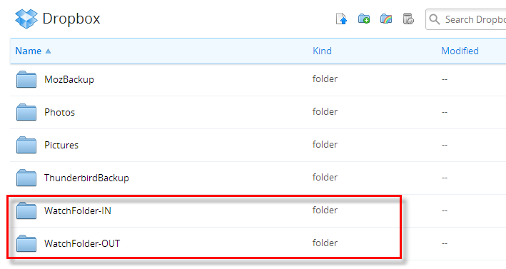 Adding Folders in Dropbox for Document Conversion Service