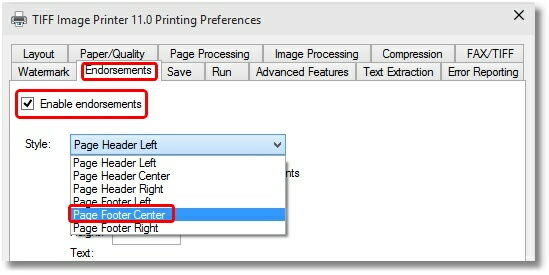 TIFF Image Printer - Endorsements Screen : Enable and Select Style