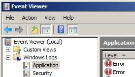 EventViewer - Application - Windows 2008
