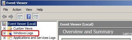 EventViewer - Windows Logs - Windows 2008