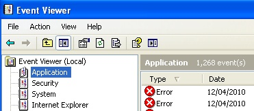 EventViewer - Application - Windows XP