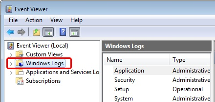 EventViewer - Windows Logs- Windows 2008 R2