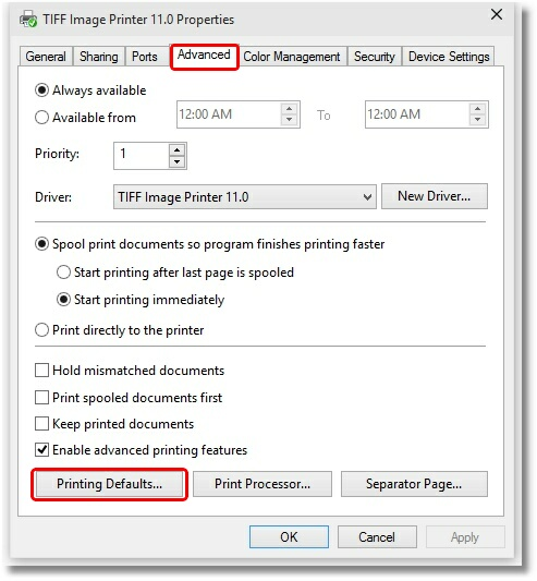 Printer Properties - Advanced tab