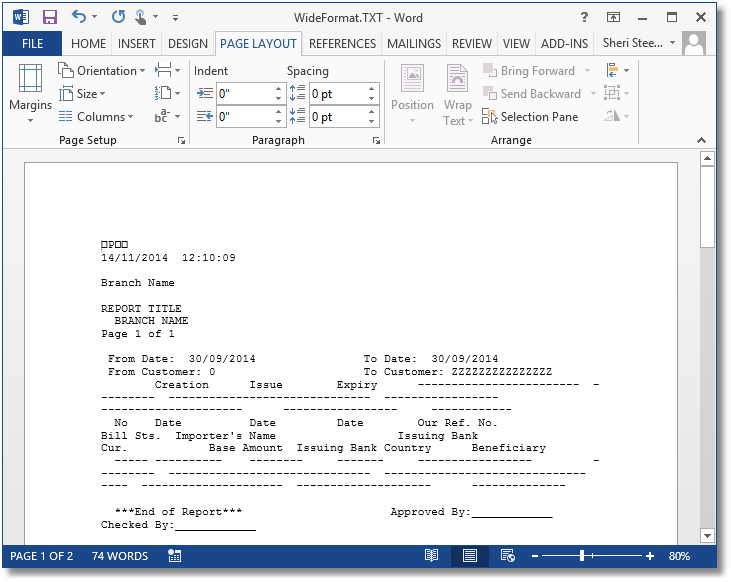 Landscape Text File Open in Word