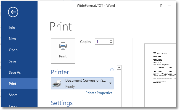 Landscape Text Select Printer