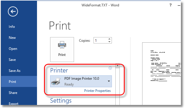 Landscape Text Select Printer