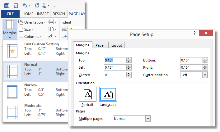 how to change the document margins to normal