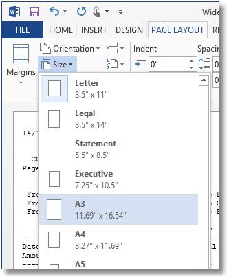 Landscape Choosing Paper Size
