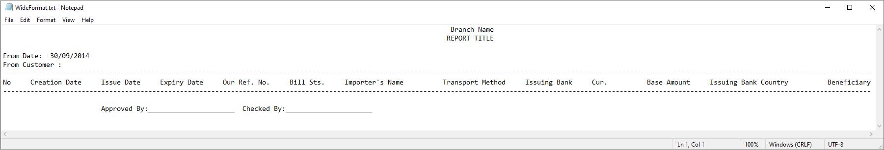 Sample Landscape Text Report