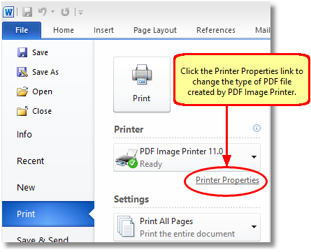 In Word 2010, click the Printer Properties link before printing to change the PDF settings