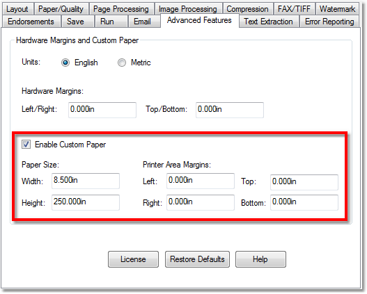 Printer Preferences - Custom Paper Size