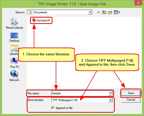 TIFF Image Printer Merge - Appending to Existing Filename