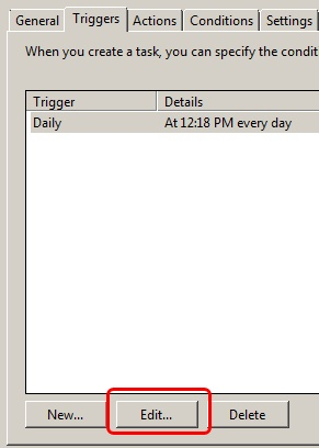 Task Scheduler- Click Edit of Trigger