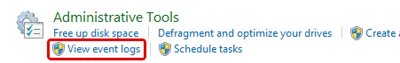Windows 8 - Control Panel - View Event Logs