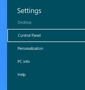 Windows 8 - Settings Charm