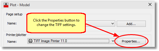 Change the TIFF settings through the Properties button on the Plot dialog