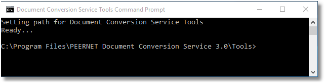 Document Conversion Service command tools window