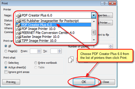 converting excel to PDF