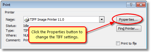 In Excel 2007, click the Properties button before printing to change the TIFF settings.