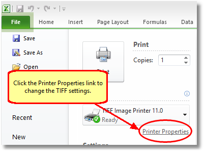 In Excel 2010, click the Printer Properties link before printing to change the TIFF settings