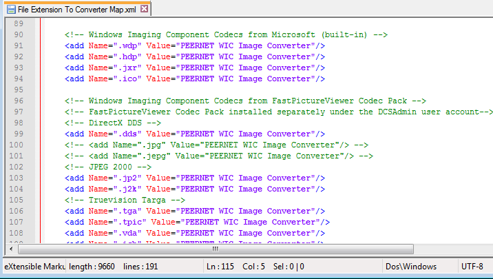 File extension mapping for Windows imaging codecs