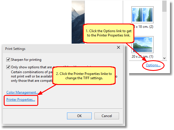 When printing your JPG images, click Options then Printer Properties before printing to change the TIFF settings