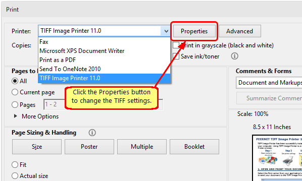In Adobe Reader click the Properties button before printing to change the TIFF settings