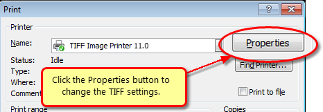 In PowerPoint 2007, click the Properties button before printing to change the TIFF settings.
