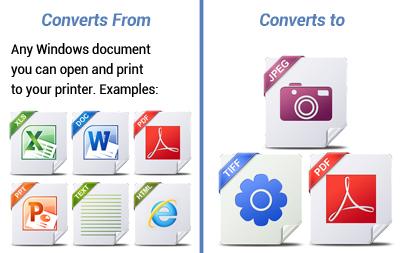 Convert to PDF, TIFF, JPEG